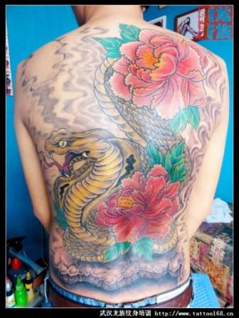 武汉龙族纹身 满背蛇