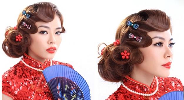 旗袍代表着中国的传统的文化,是中国最具代表的服装,也是很多新娘必穿的服装, 在造型时,应该全方位处理发型。根据中国旗袍的传统文化,造型风格上要把握在复古这一重点。古典的发型和传统的旗袍是密不可分的,一般可以利用翻卷的波纹留海和流畅的 S 型线条、高贵的包发,盘发等手法来体现古典美。亦可根据中国的古典文化与现代元素结合起来表现新娘的现代感。