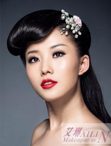 无锡化妆培训复古系新娘妆容 无锡化妆中式新娘发型 无锡化妆最新新娘图片